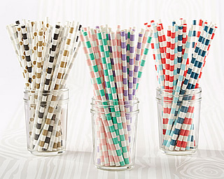 wedding paper candy stripe straws